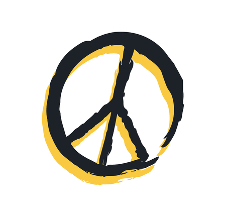 Sign of peace isolated on bright backdrop poster colorful vector illustration with black and yellow international reconciliation symbol, modern design Illustration