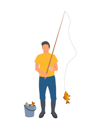 Fisherman with fisher-rod vector illustration isolated on white background, adult man in yellow t-shirt and blue trousers in boots, catched fishes