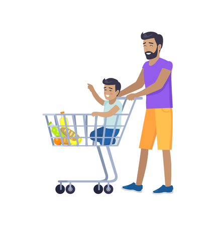 Joyful father shopping with his small son banner isolated on white background boy sitting in food cart and smiling, trolley with different products
