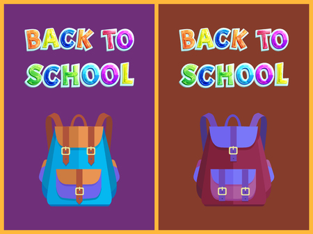 Back to school pupil bags types. Satchel with closed pockets knapsacks for kids still studying. Backpacks rucksacks with clasps isolated on vector