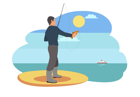Fisherman standing lonely on sandy shore catching fish. Person holding rod cold-blooded limbless animals. Ship floating on water vector illustration