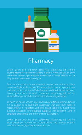 Pharmacy Medication Items Set Vector Poster