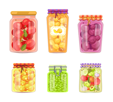 Preserved fruit and vegetables set vector illustration. Tomato and peach, plum and apricot, peas and salad of sliced goods with spices in glass jars Фото со стока - 127673045