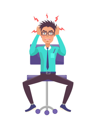 Businessman in anger holding head, bolts of rage around it, man wearing suit and tie, furious male sitting on chair isolated on vector illustration Ilustração