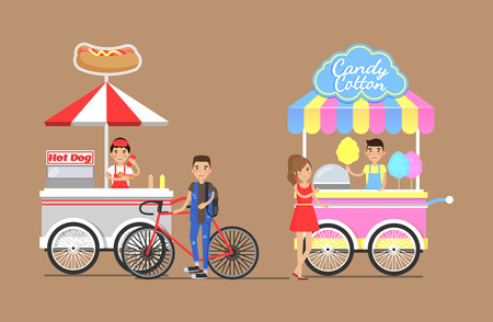 Hot dogs and cotton candy from street carts set. Customer on bicycle buys hot-dog, girl buying tasty snack isolated cartoon vector illustrations. Illustration