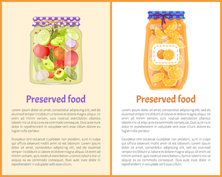 Preserved fruit and vegetables set vector illustration. Sweet orange marmalade and salt pickled salad, slices in tins, container food poster icon