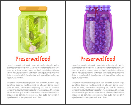 Preserved fruit and vegetables set vector illustration. Sweet blueberry marmalade and pickled cucumber with spice in glass jars, container food poster Çizim