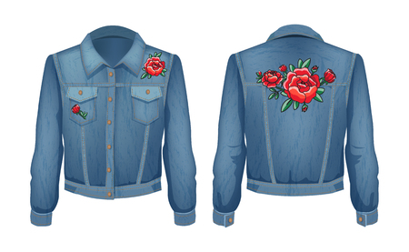 Rock style denim jacket set, back and front views. Floral blooming roses patch put on fashionable clothing worn by women and girls vector illustration