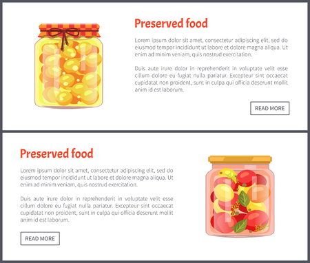 Preserved fruit and vegetables set vector illustration. Tomato salad and apricot jam, with spices in glass jars, container food isolated on white Ilustração