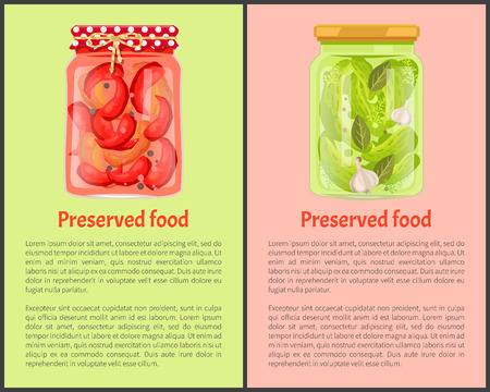 Preserved food poster red pickled chilli peppers and cucumbers with bay leaves and garlic, in glass jar vector. Traditional marinated veggies, canned snack