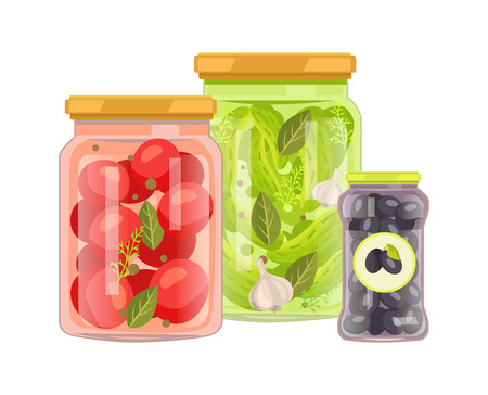 Preserved Vegetables Set, Vector Illustration