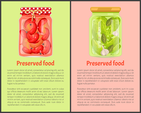 Preserved Food Poster Pickled Chilli and Cucumbers Banco de Imagens