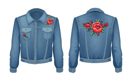 Rock Style Denim Jacket Set Vector Illustration Stock Photo