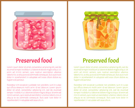 Preserved Food Poster Currant Berry Jam and Orange Stok Fotoğraf - 112304739