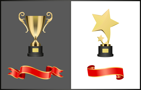Shooting Stars Award and Golden Cup Trophy Set Stok Fotoğraf