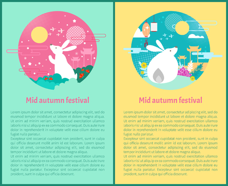 Mid autumn festival posters set Chinese celebration. Rabbit and full moon with flowers architecture gates of China. Night holiday and lanterns vector Illustration