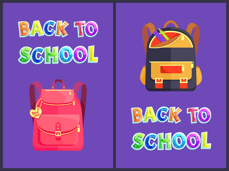 Back to school backpacks poster set. Pink rucksack with love label. Bag with comfortable shoulder straps and pencil ruler in pocket satchels vector Stock Vector - 127634326