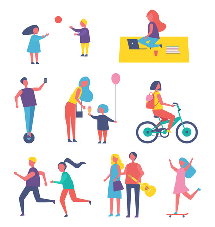 People leading active lifestyle isolated icons. Children playing and freelancer, running people and couple with guitar. Jogging man and woman vector Stock Illustratie