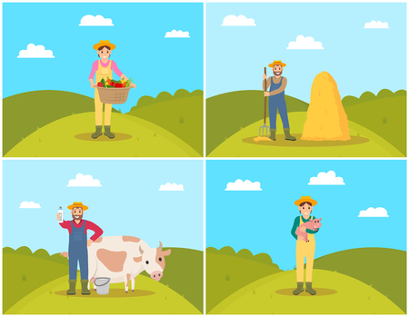 Farmer with pig piglet set vector. Man tending cattle and holding dairy product, farming person with pitchfork by balerick. Woman with wicker basket Иллюстрация