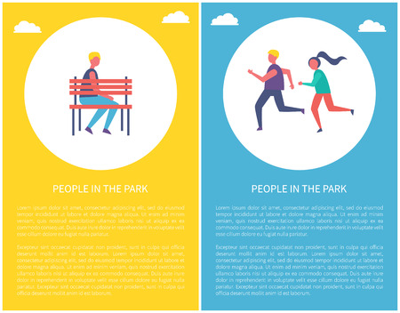 People in park poster boy sitting alone on bench, man and woman jogging, sportive runners vector banner in circle with text. Guys spending time on fresh air