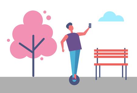 Hombre montando en tablero de juego y haciendo Selfie Vector Park Ilustración de vector