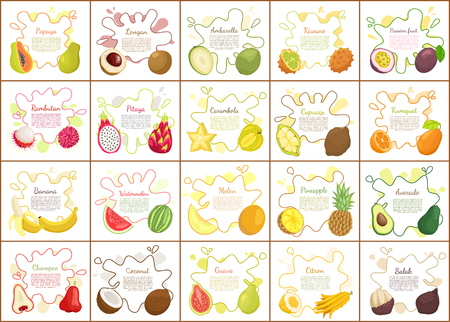 Citron and kiwano, durian and pomelo,, pitaya and papaya, longan and rambutan. Passion fruit and ambarella, carambola and banana, posters set vector