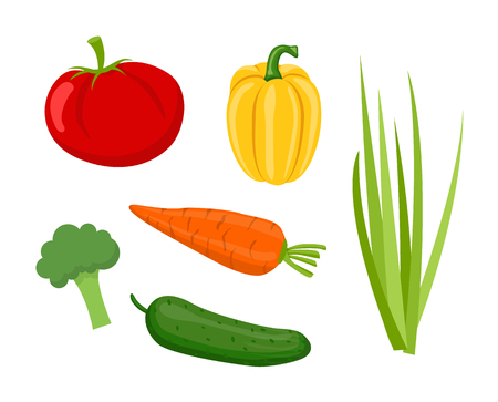 Cucumber and tomatoes, pepper and onion, broccoli and carrot set of vegetables. Isolated icons veggies homegrown products, rural ripe food vector