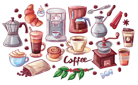 Coffee cup and dessert poster vector isolated icons. Cezve and beans in bag, cinnamon and sugar in container. Branch of plant and different beverages Illustration