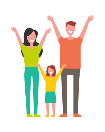 Mother, father and daughter rising hands up greeting everyone vector illustration isolated on white. Smiling cartoon lovely family having fun together