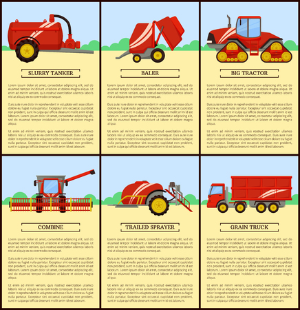 Slurry tanker with container and tractor driving. Posters set with text sample and machinery bale stacker, baler and combine, grain truck van vector Standard-Bild - 127634351