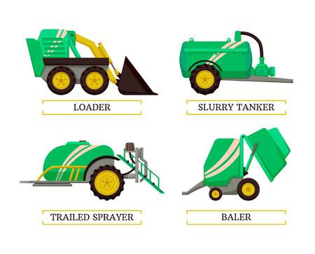 Empacadora y cisterna de lechada, cargador y pulverizador arrastrado maquinaria agrícola iconos aislados conjunto de vectores. Mecanismos automáticos de dispositivos y máquinas agrícolas