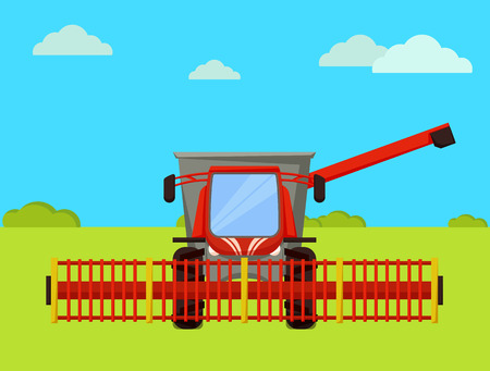 Combine agricultural machine working on farm. Farming vehicle, industrial device for crops harvesting. Autumn season and harvester on farmland vector