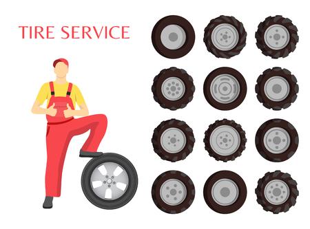 Cartel de servicio de neumáticos con trabajador mostrando el pulgar hacia arriba como símbolo de buen trabajo. Bien hecho, señal de hombre vestido con uniforme que trabaja con ruedas de goma. Ilustración de vector