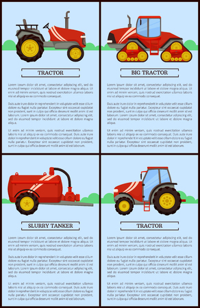 Slurry tanker with reservoir and pipe and different tractors on fields. Posters set with text and agricultural devices and machinery, machines vector