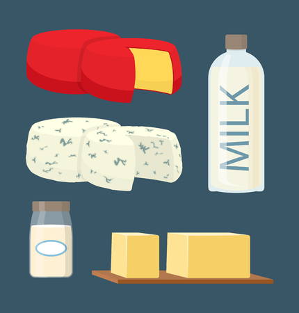 Set of flat dairy products in cartoon style. Bottle of milk and glass jar of cream with butter pieces cutting board and rennet and blue cheese head