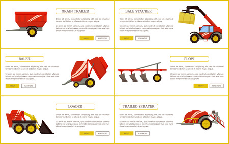 Grain trailer and bale stacker set of posters with text sample vector. Baler and plow, loader and trailed sprayer with reservoir for liquids machinery Illustration