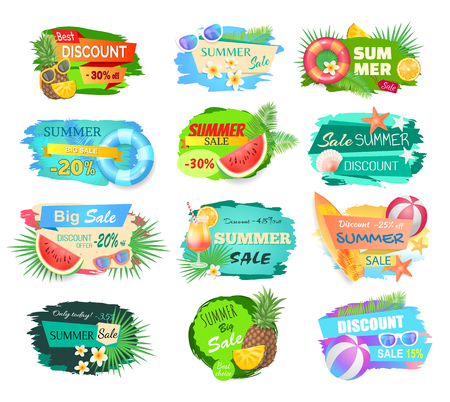 Summer Sale Offerings Set Vector Illustration