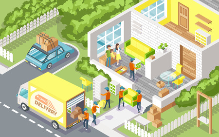Cargo delivery company people 3D vector. Family moving out using service of transportation of furniture. Building with rooms and workmen in uniforms Illustration