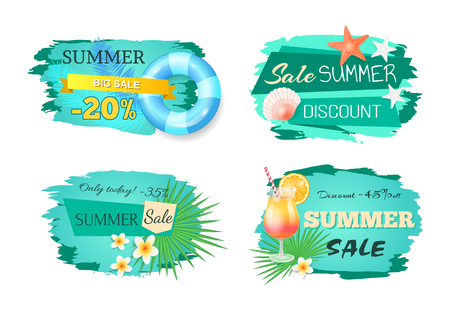 Summer Big Sale Banners Set Vector Illustration