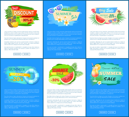 Summer Big Sale Banners Set Vector Illustration Standard-Bild - 112304856