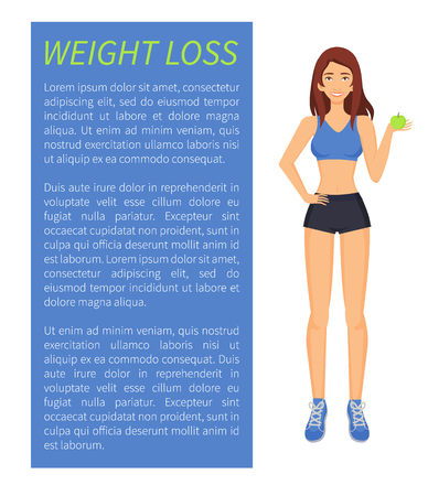 Weight loss sport and diet, woman with apple fruit. Poster with text sample and sportswoman in good shape, eating eco food, healthy lifestyle vector  イラスト・ベクター素材