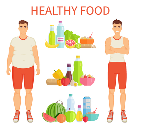 Healthy Food Poster and Icons Vector Illustration