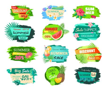 Summer Big Sale Banners Set Vector Illustration