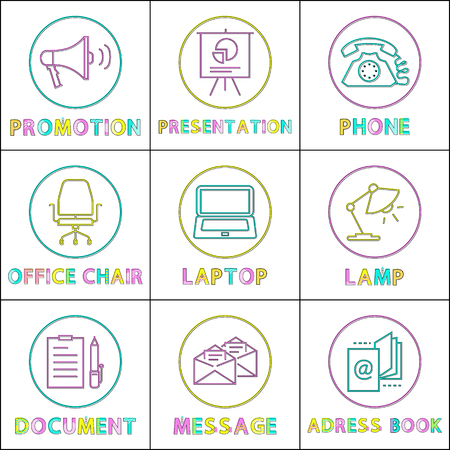 Promotion and phone presentation with chart and office chair icons set. Laptop with screen and document page with pen message and address book vector