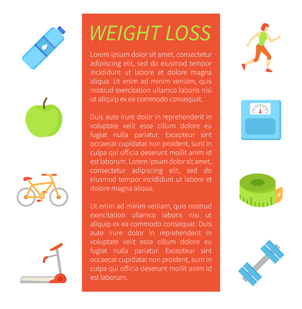 Weight loss poster and isolated icons set. Running woman, bottle of pure water, apple fruit and bicycle. Treadmill and dumbbells, meter measure vector