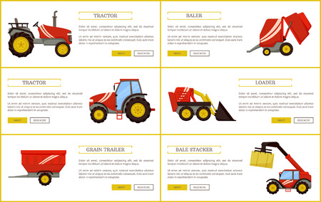 Grain trailer and baler, bale stacker and tractor. Agricultural devices set of posters with text sample. Machines and mechanisms for farming vector