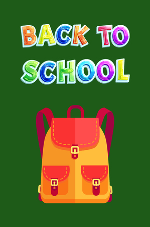Back to school backpack poster with text. Yellow satchel with pockets and clasps. Backpack for books and supplies children knapsack isolated on vector 일러스트