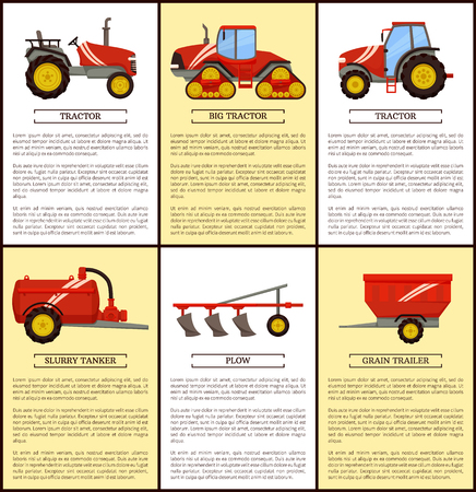 Agricultural Machinery Set, Cartoon Vector Banner Imagens - 112304903