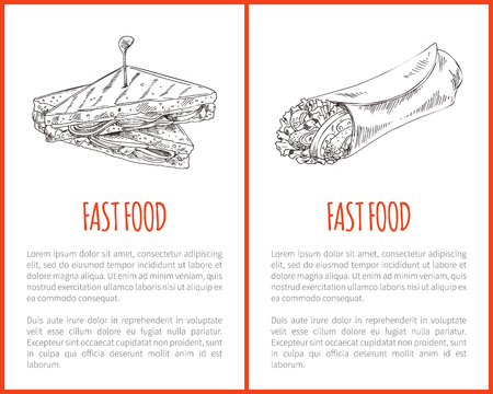 Junkfood Poster with Triangle Sandwich and Burrito Illustration