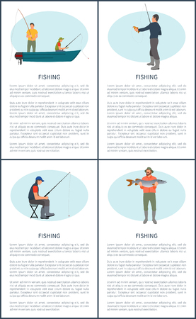 Fishing poster or flyer set. Fisherman in motorboat waiting for rise, sitting man with rod, fisher with tackle and pearch, guy with big catch in hands